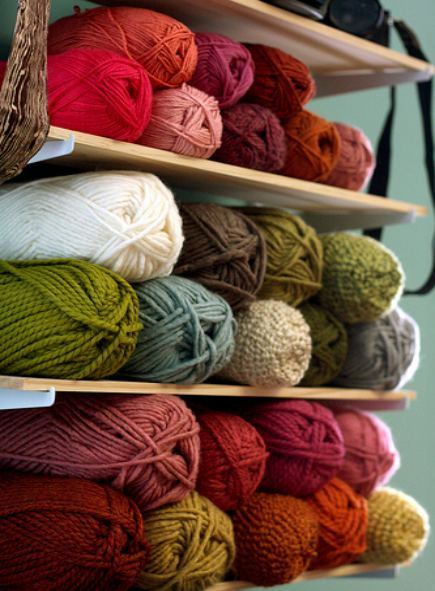 shelf of knit and crochet yarn
