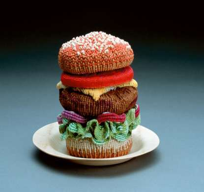 knitted amigrumi burger