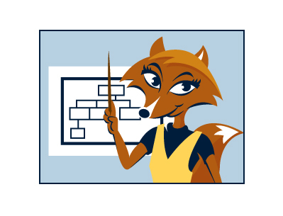 cartoon fox with chart