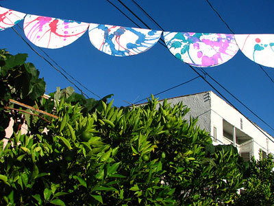 spin-art paper plate fourth of July bunting
