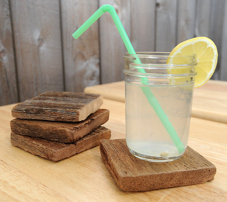 wood upcycle coaster