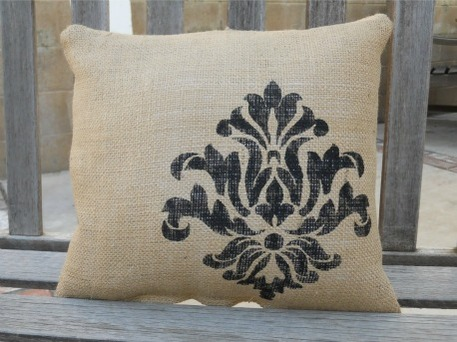 home decor pillow with stencil design