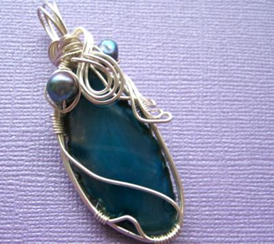 wire wrap pendant necklace