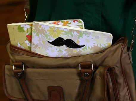 moustache stamped journal cover