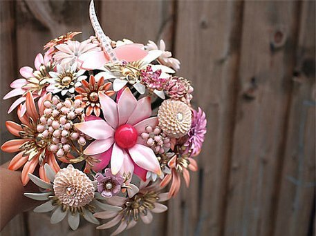 bridal bouquet made from brooches