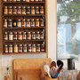 reclaimed wood table and spice rack