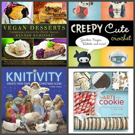 cover of Vegan Desserts, Creepy Cute Crochet, Knitivity and The Art of the Cookie and Twas the Knit Before Christmas