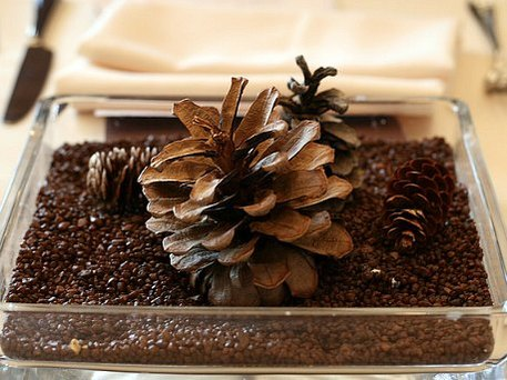 pine cone and coffee centerpiece