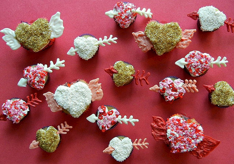 Flying heart cupcakes