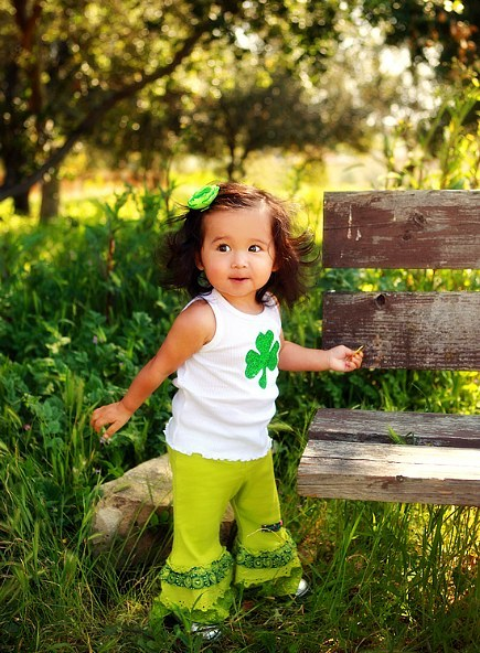 baby wears St. Patrick's Day shirt