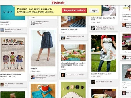 screengrab of Pinterest, an online scrapbook