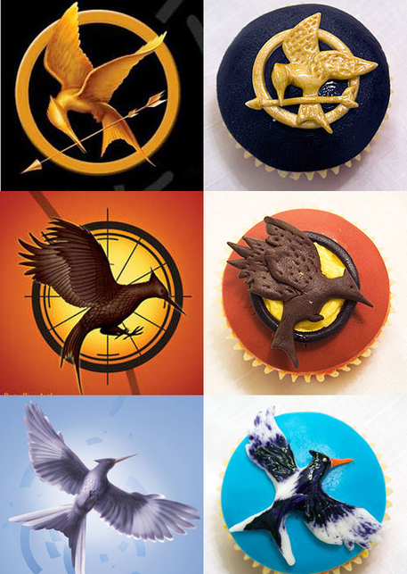 Cupcakes with Hunger Games Bird Emblems