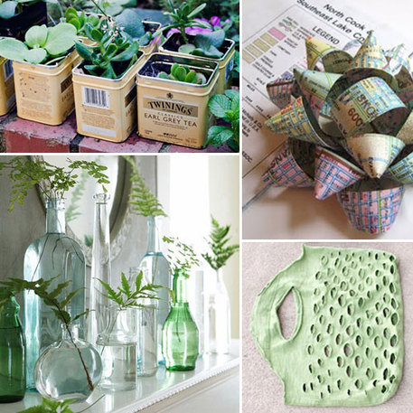 bottles reused as decoration vases