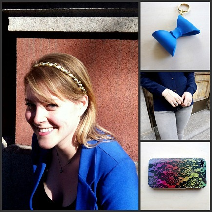 craft blogger Melissa Felderman and a few of her accessories crafts