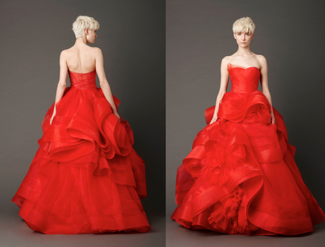 red wedding gown