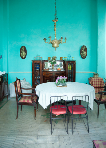 colorful kitchen with antique decorations