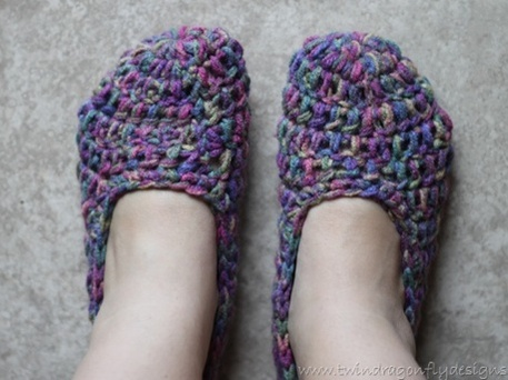 Crochet Slippers (Free Pattern) by Dragonfly Designs - Craftfoxes