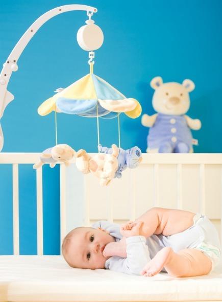Baby in a cute nursery
