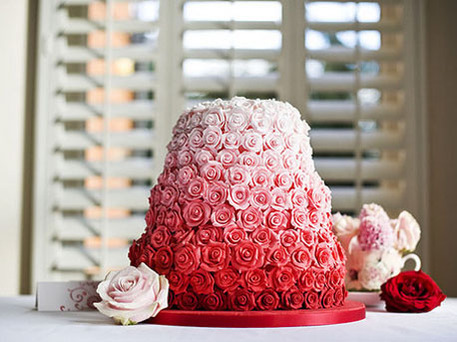ombre rose wedding cake
