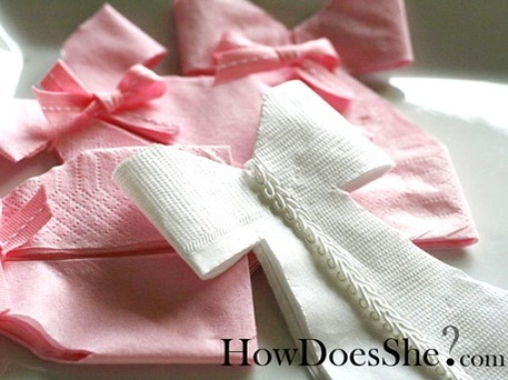 handmade wedding dress napkins