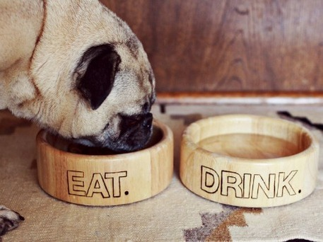 carved wood bowls for pets