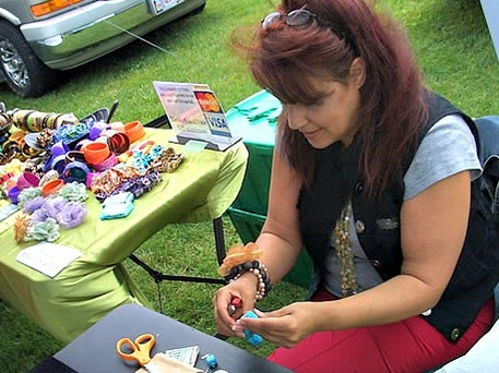 A woman crafting at a Castleberry Fair