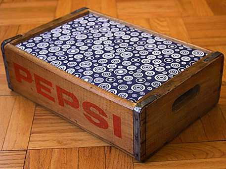 pet bed from vintage soda pop crate