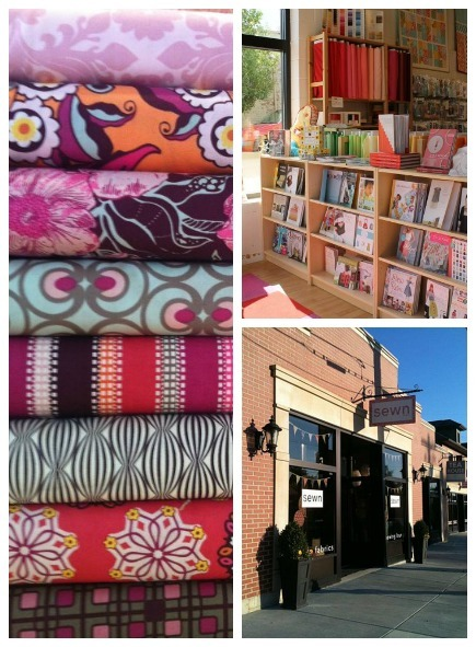 photographs of fabric from and storefront of Sewn Studio