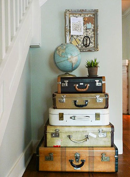 vintage luggage makes a table