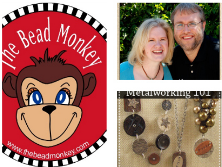 A collage featuring the Bead Monkey logo - a monkey in a red circle - a photo of the shop owners, and an advertisement for their metalworking class.