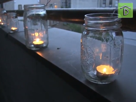 Making lights from mason jars