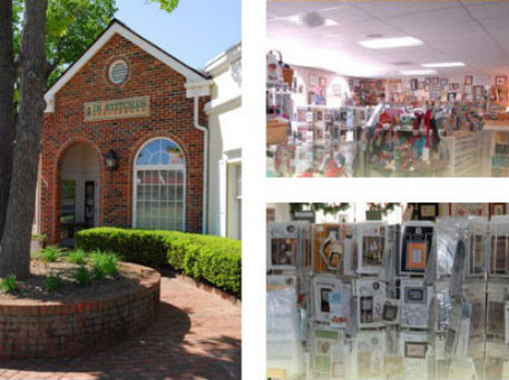 Collage featuring the storefront, needlework products, and other products.