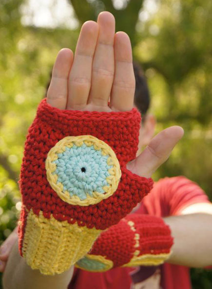 """Iron Man"" crochet gloves"