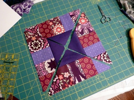 Quilting with triangles and strips, Boardwalk Block