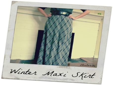 Green plaid maxi skirt made by etcetorize