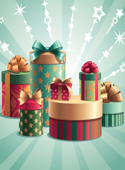 A stack of colorful gifts against a light blue background.