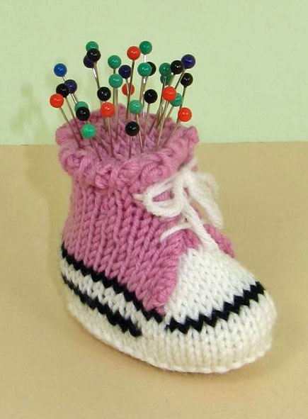 knit sneaker pincushion