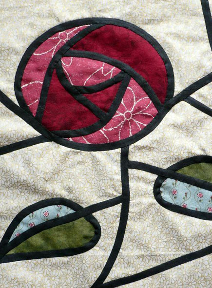 Quilted stained glass rose