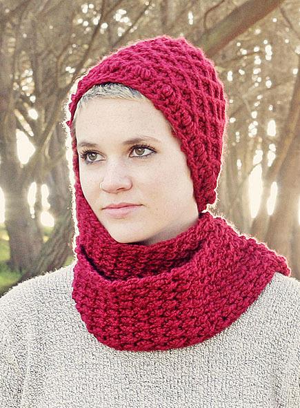 woman wear knit hood scarf