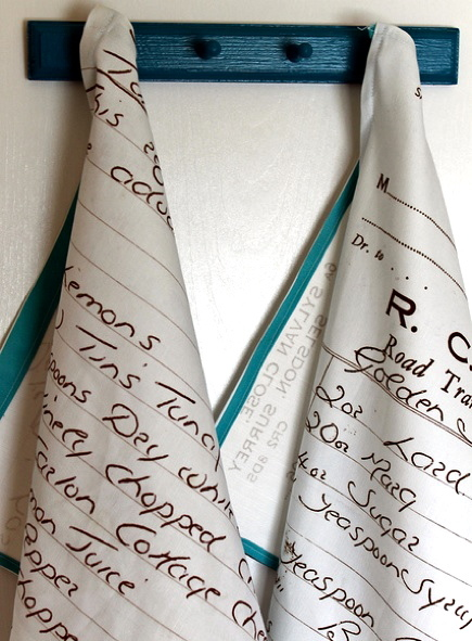 writing crafts custom tea towel with handwritten recipe