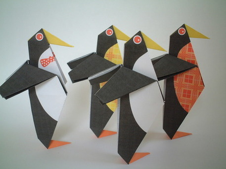 origami penguins by Andrew Dewar