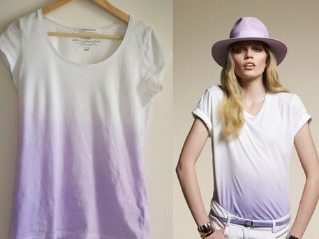 Refashioned T-shirt using dip dyed ombre technique