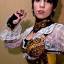 woman wears steampunk