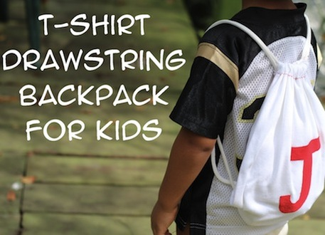 Refashioned T-shirt to Drawstring Backpack for Kids