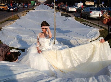 Handmade Wedding Dress with the World's Longest Train