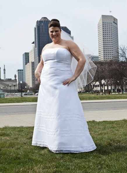 The blogger, Katie Jones, in her bridal gown