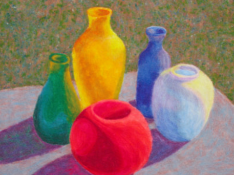 "two-dimensional needle felting (Bottle Study, 24"" x 36"" (61 cm x 91.5 cm), wool roving, Peace Fleece, wool batting; machine needle felted, machine trapunto using monofilament thread, by Linda Hall)"