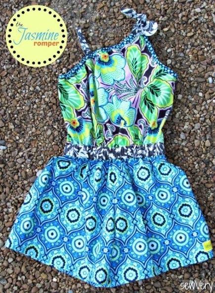 A blue paisley and flower patterned romper