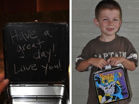 Chalk Message Inside Metal Lunchbox