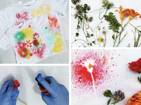 Painted T-shirt with Flowers and Leaves